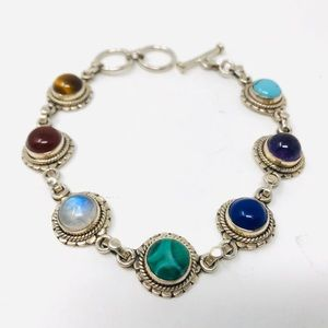 Sterling silver, genuine multi-gemstone bracelet